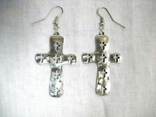 NEW RELIGIOUS CHRISTIAN CROSS w 6 CUT OUT CROSSES CAST PEWTER PENDANT EARRINGS