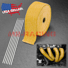 "Yellow Exhaust Pipe Insulation Thermal Heat Wrap 2"" x 50' Motorcycle Header"
