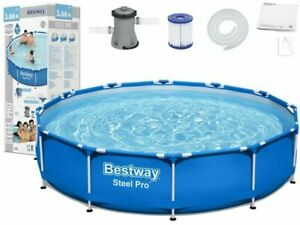 Bestway 12ft Steel Pro Large Swimming Pool with Filter Pump - 366 x 76cm