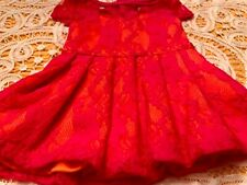"For American Girl or 18"" Doll Hot Pink Lace Over Bright Orange Dress"