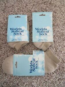 NEW NIP NWT World's Softest Sock Women's Men's Low Cut Medium Beige #76 Pebble