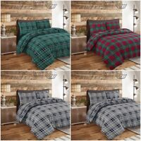 Stunning Flannelette Duvet Bedding Set 100% Brushed Cotton Tartan Red Pillow