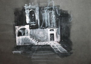 VINTAGE EXPRESSIONIST GOUACHE PAINTING STAGE DESIGN
