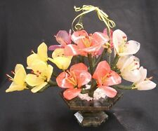 Chinese Jade Basket of Peony Flowers