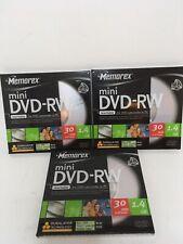 3x MEMOREX DVD-RW 1.4GB 30min Rewritable Mini 8cm DVD Disc Disk Jewel Case Blank