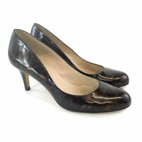 L K Bennett Size 40 US9 UK7 Brown Patent Leather Slip On Court High Heels Shoes