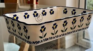 Aphorism Small Blue Flower Baking Dish, 18.8cm x 12.5cm