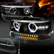 00-06 Chevy Tahoe Suburban Black LED Halo Projector Headlights+LED Bumper Lights