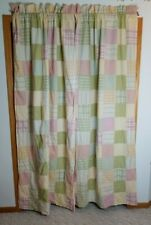 2 Croscill Patchwork Madras Plaid Curtain Panel Stitch Floral Cotton 84x40 Lined