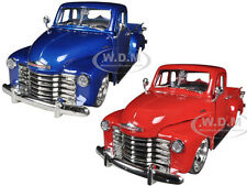 1953 CHEVROLET PICKUP TRUCK RED & BLUE SET OF 2 CARS 1/24 JADA 96864A-SET