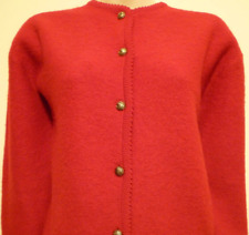 Sag Harbor womens Large red 100% wool thin knit button cardigan sweater