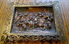 Antique Cherub Putti Copper Plaque Hand Chased Frame Bacchanalian Scenes C1860