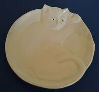 Vtg 1987 Flat Earth Pottery Art Ceramic Serving Plate Laying Cat Kitty White 3D