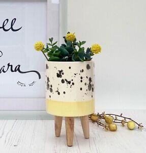 Ceramic Plant Pot on Legs Scandi Herbs Flower Planter Kitchen Garden Yellow Band