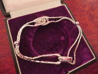 Schönes 835 Silber Armband Zirkonia Jugendstil Art Deco Vintage Kugel Elegant