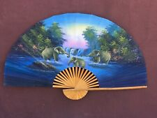 Really Beautiful ~Vintage Hand Painted Folding Bamboo & Parchment Elephant Fan