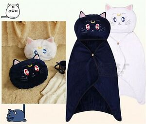 LUNA Cat Hooded Cloak Shawls Blankets Cover Anime Sailor Moon Cosplay