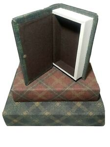 Hidden Storage Ski Lodge Book Boxes Set of 3 Plaid Burlap Canvas Green Red imax
