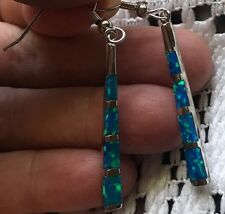 """*Exquisitely Beautiful*Blue Fire Opal SF*925 Stamped*Dangle Earrings!* 2-1/8""""*"""