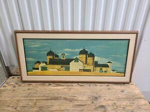 Vintage John Wheat September Harvest Landscape Lithograph Mid Century Framed