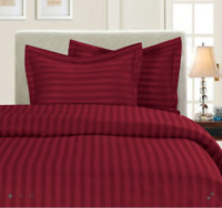 Wamsutta SHEET SET Damask Stripe 500 Thread Burgundy Egyptian Cotton FULL XL