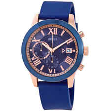 Guess Atlas Chronograph Blue Dial Blue Silicone Men's Watch W1055G2