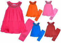 Girls Dress Leggings Set New Kids Chiffon Tunic Top Set Outfit Ages 2 - 12 Years