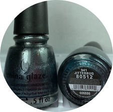 CHINA GLAZE Nail Polish JITTERBUG * 941 Sparkle Gun Metal Grey Lacquer