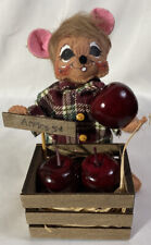 """RARE Annalee Thanksgiving Harvest ~ Apple Picking Mouse """"Apples 5 cents"""" ~ 6"""""""