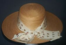 Vintage Straw Sun Hat Embroidered Roses Satin Band Made in Italy