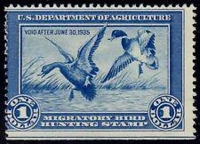 US stamp scott # RW1 $1 blue duck hunting 1934 vf mnh cv $600+