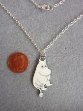 """Moomin Enamel Charm Pendant Necklace 18"""" Silver Plated Chain Birthday Gift # 252"""