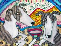 WHIPPET Drinking a Martini Dog Collectible 8 x 10 Signed Pop Folk Art Print