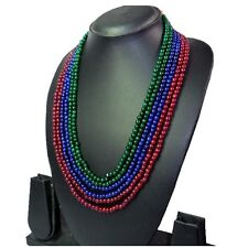 TOP SELLING 540.00 CTS NATURAL RUBY,EMERALD & SAPPHIRE BEADS NECKLACE  (DG)