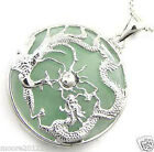 silver dragon jewlery green jade dragon phoenix amulet pendant necklace