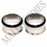 "0024 Steel Single Flare Flesh Tunnels Earlets Big Gauges 11/16"" Plugs 18mm PAIR"