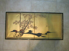 Japanese Byobu 4 Folding Screen 19X40 Tree Gold