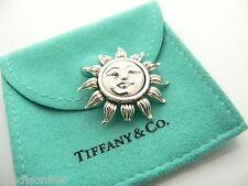 Pin Rare Gift Pouch Nature Tiffany & Co Silver Sun Brooch