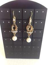Vintage Gold Crown Pearl Earrings