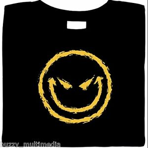 Evil Smiley Face Shirt, Goth, Devilish Grin, Wicked Cool, T-Shirt