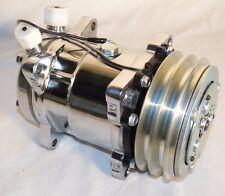 SANDEN 508  Style AC Compressor V-Belt, Chrome Universal Fit GM Mopar Ford