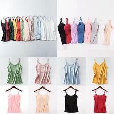 Women Sexy Casual Silk Satin Camisole Plain Vest Top Sleeveless Blouse Tank US