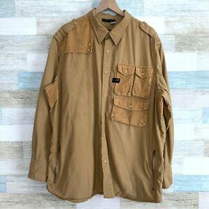 Rocawear Corduroy Patchwork Utility Shirt Tan Button Front Casual Mens 3XL XXXL