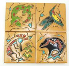 "Ceramic Art Tile 4""x4"" 4 pc Coaster Set Flute player Kokopelli Bear Lizzard Bird"