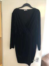 Black Velvet Oasis Dress Size L. Long Sleeve, V Neck, Body Con