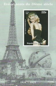 MARILYN MONROE SHOWGIRL POSE EIFFEL TOWER IMPERFORATED MNH STAMP SHEETLET