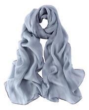 Long Silk Chiffon Scarf Solid Gray Color SQL017