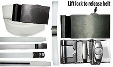 New Men's belt. Leather Dress Belt Quick Automatic Lock. Silver buckle up to 43""