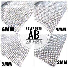 Iron On Diamante Transfers Strips Hot Fix Rhinestone Mesh Silver AB Crystal Trim