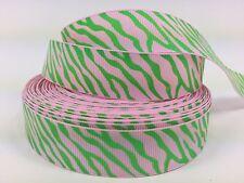 "BY The Yard 7/8"" Pink Zebra Print Grosgrain Ribbon Hair Bows Head Bands Lisa"